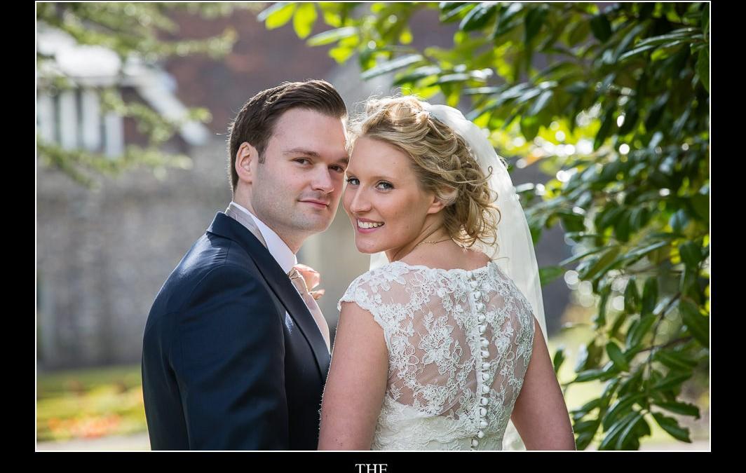 bride and groom at ashridge house