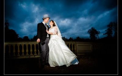 Sneaky Peak Stoke Park Club Winter Wedding with brooding skies