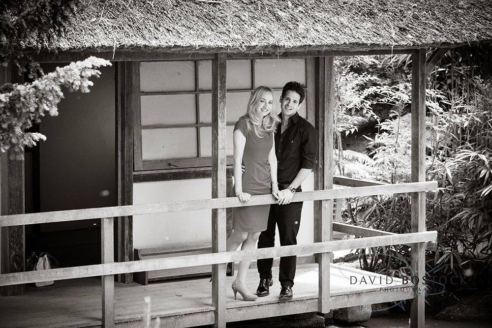 Le manoir engagement shoot black and white