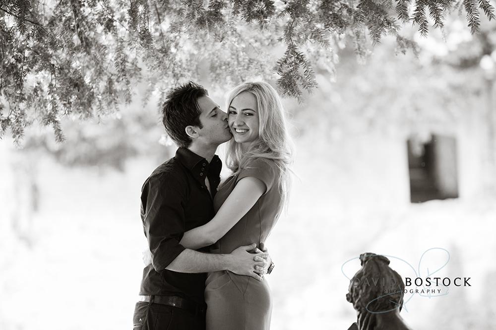 Le manoir engagement shoot kissing cheek