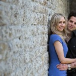 Le manoir engagement shoot by wall