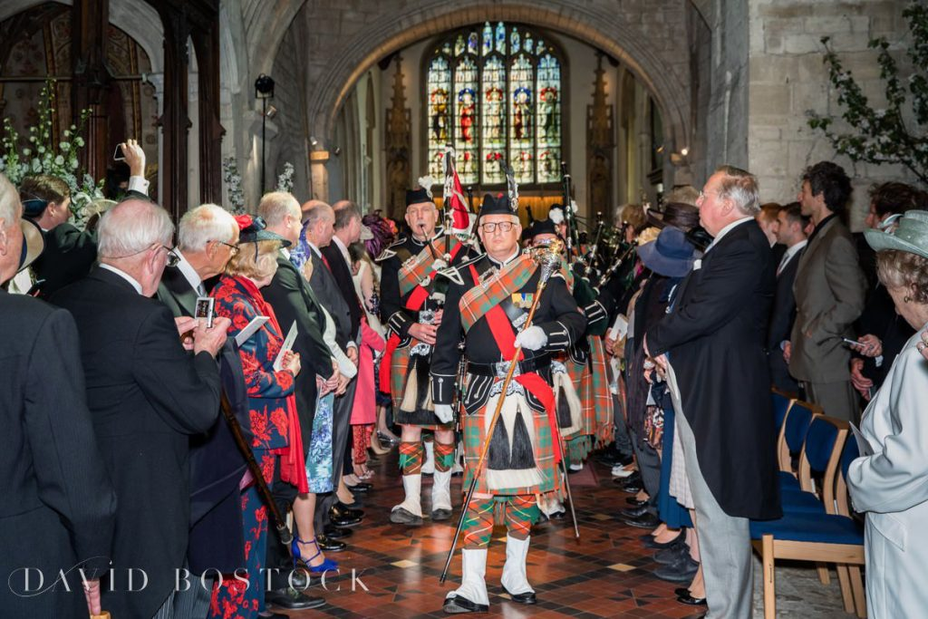 pipe band exiting church