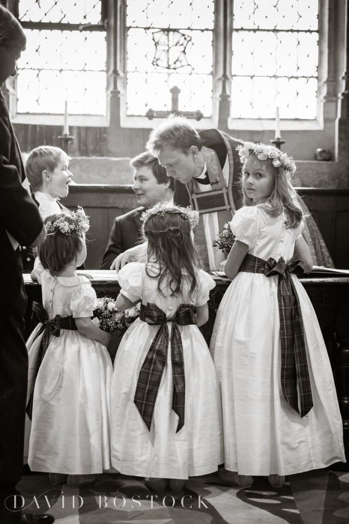 flower girls with tartan sashes