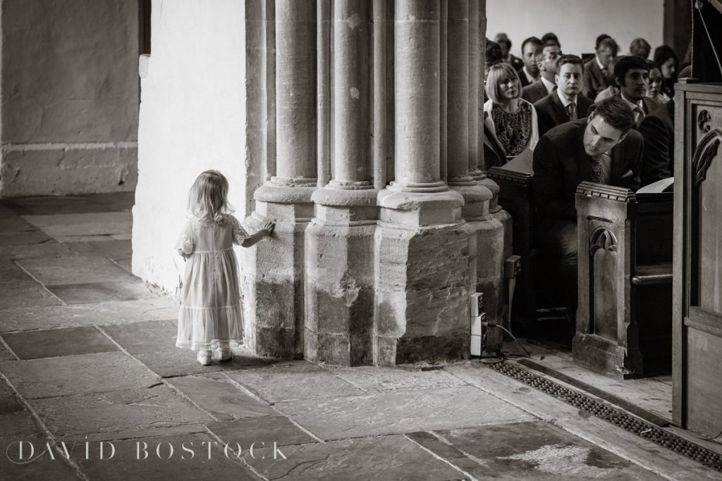 toddler playing in church