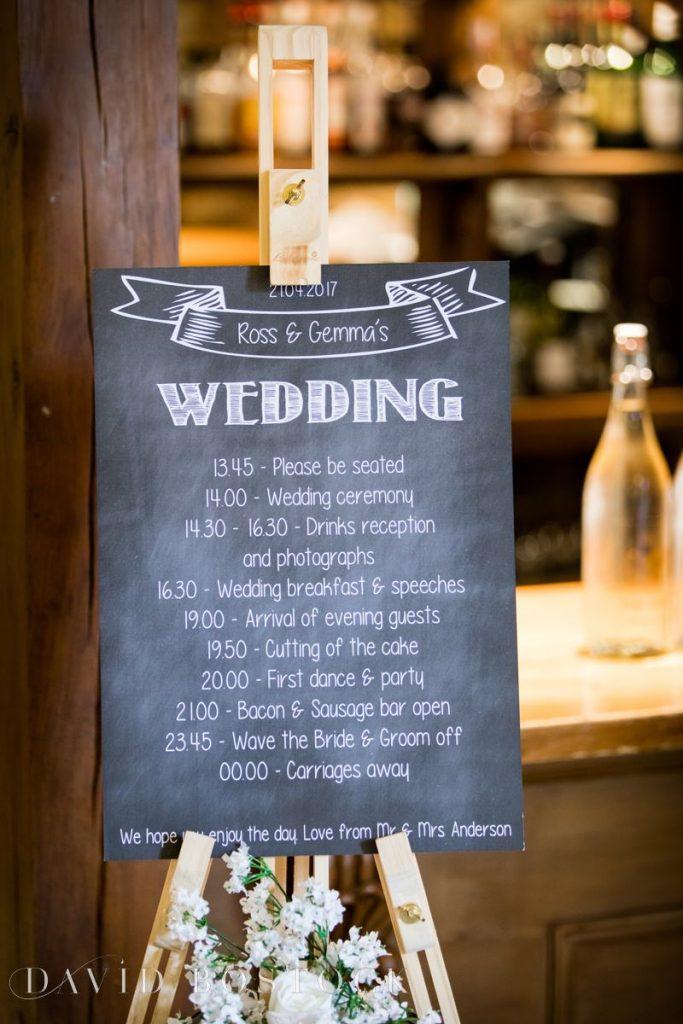 wedding timetable sign