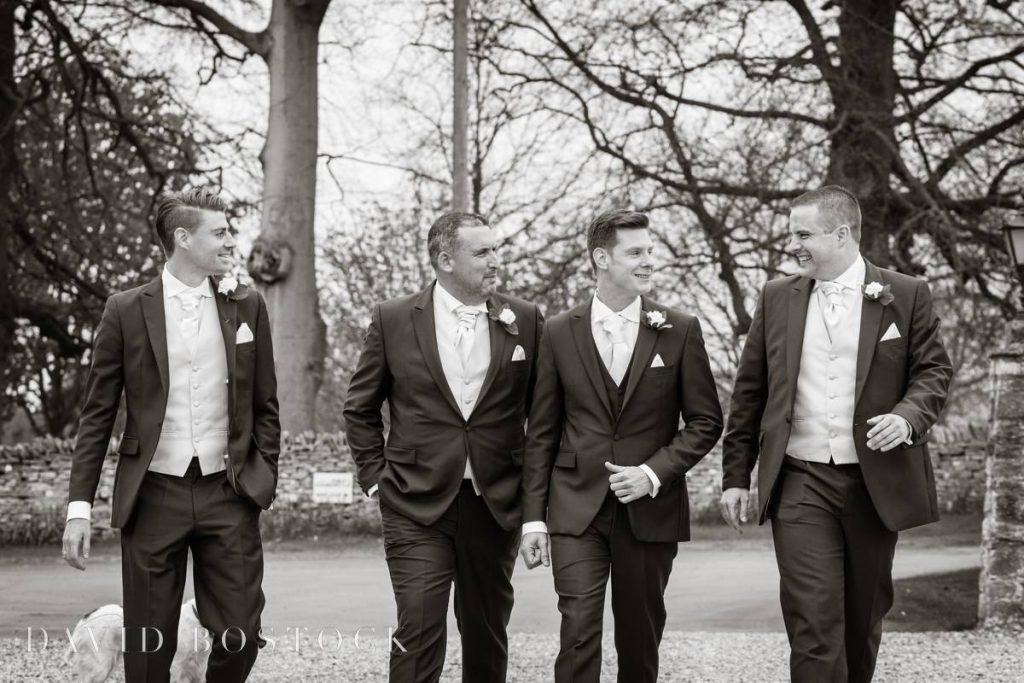 Groomsmen in black and white