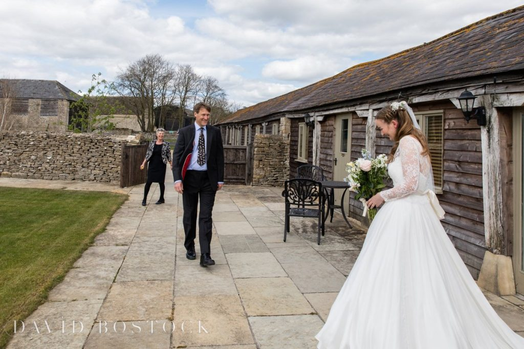 Caswell House Spring Wedding bride seeing father