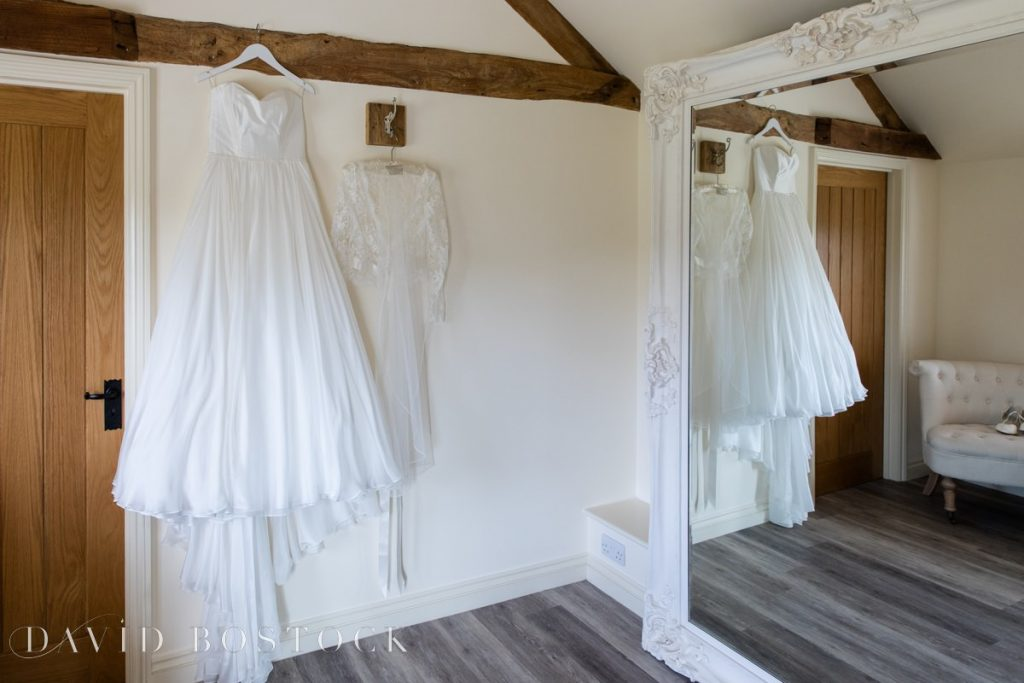 Caswell House Spring Wedding dress hung up