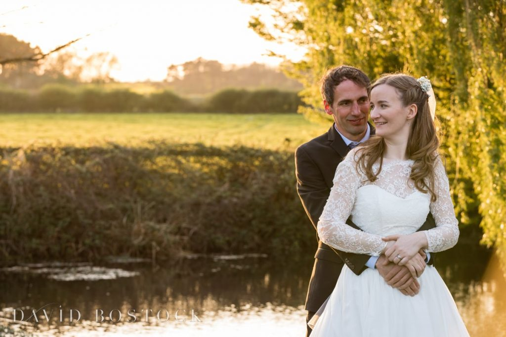 Caswell House Spring Wedding couple by sunset