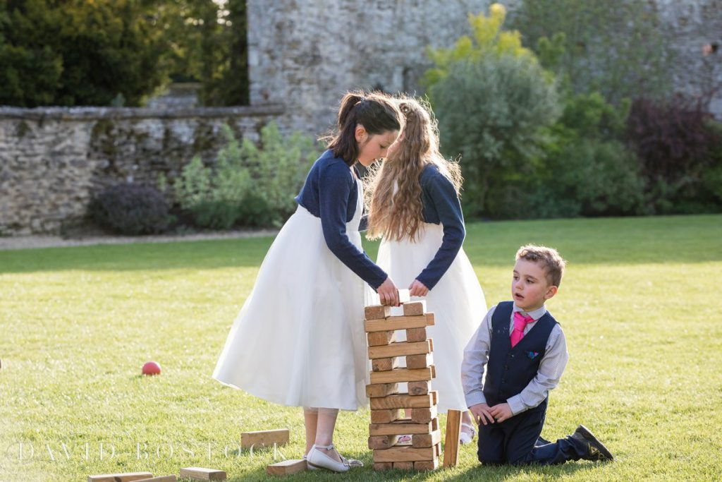 Caswell House Spring Wedding children playing jenga