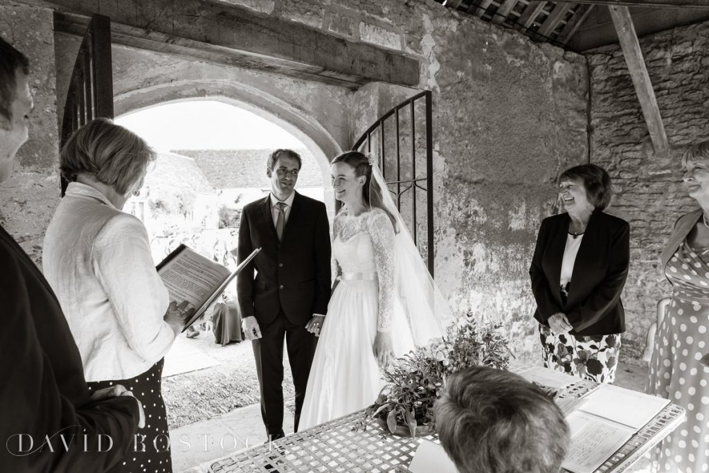 Caswell House Spring Wedding saying vows