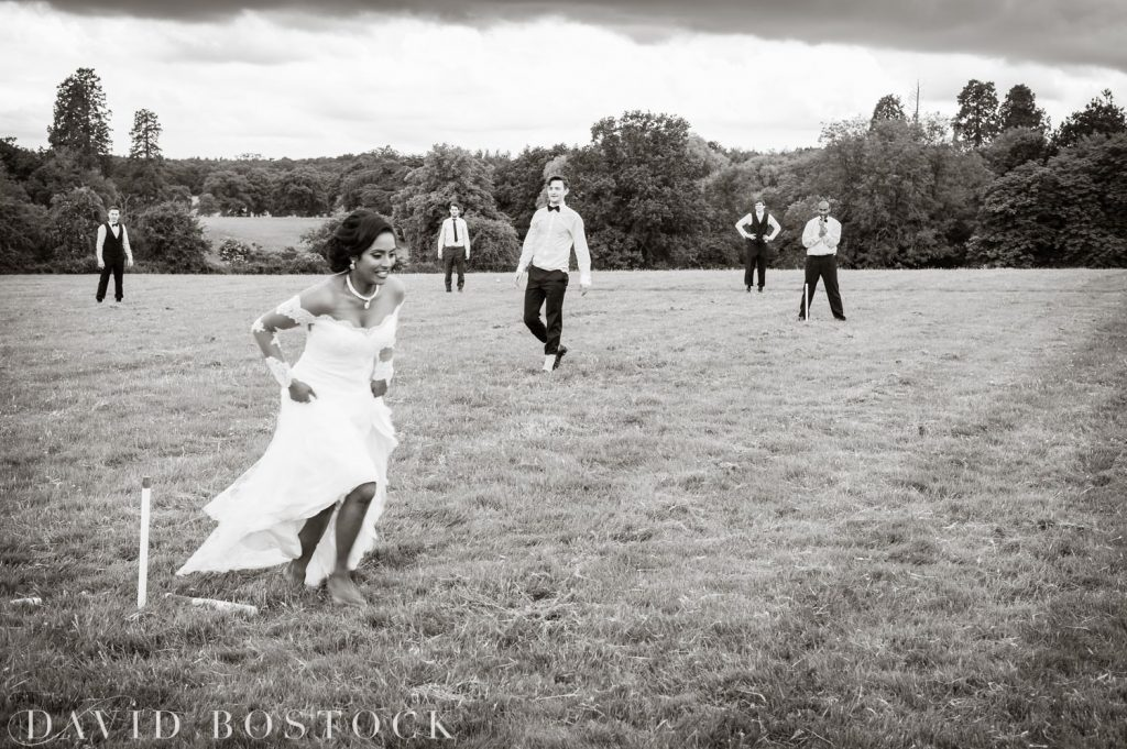 Eynsham Hall Wedding playing rounders