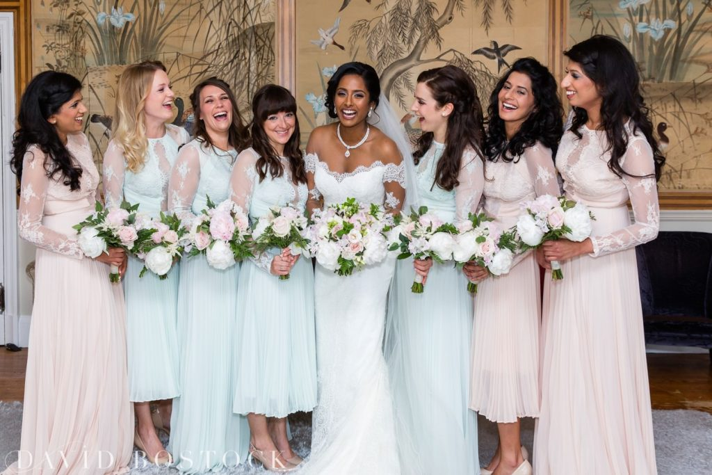 Eynsham Hall Wedding bridesmaids and bride