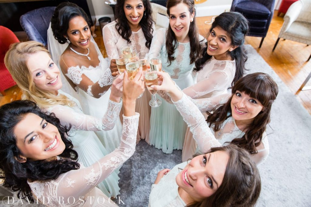 Eynsham Hall Wedding bridesmaids cheers