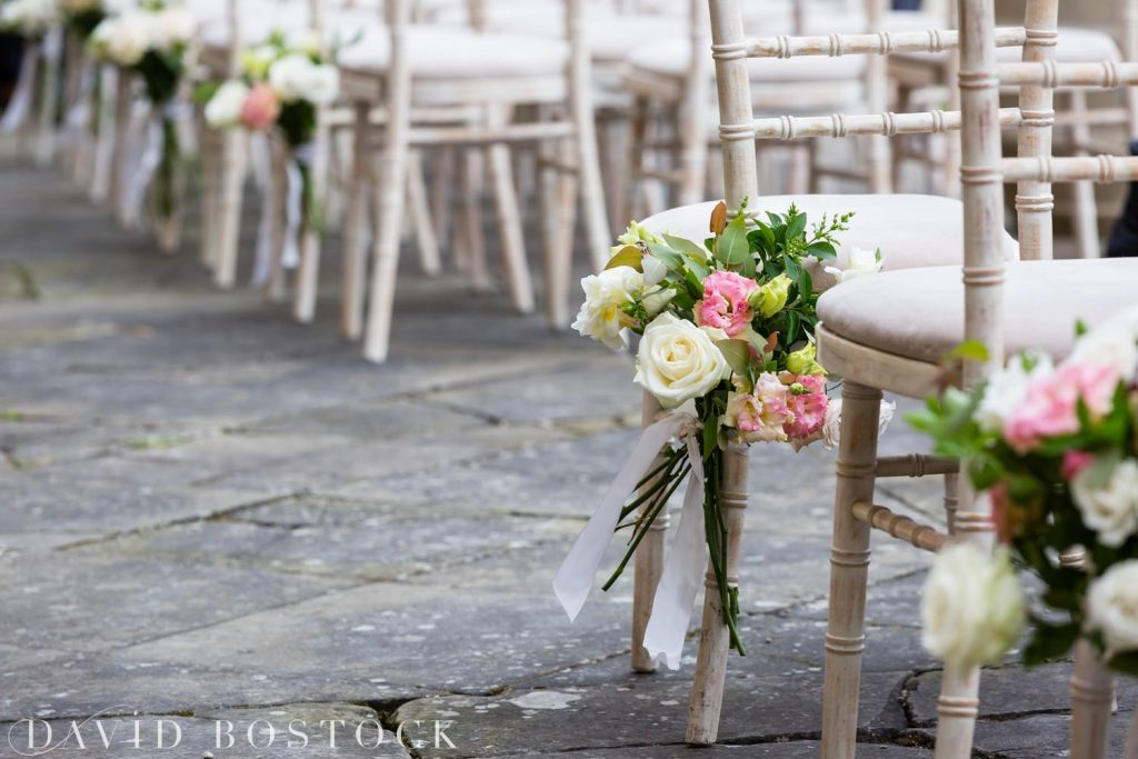 Eynsham Hall Wedding chair flowers