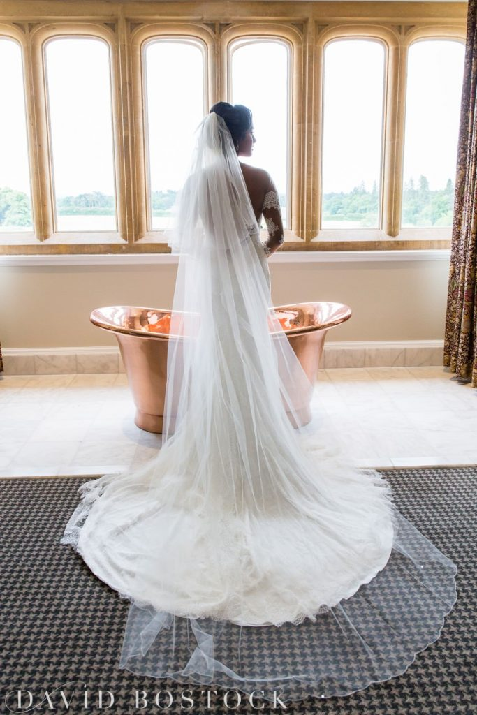 Eynsham Hall Wedding bride by a bath