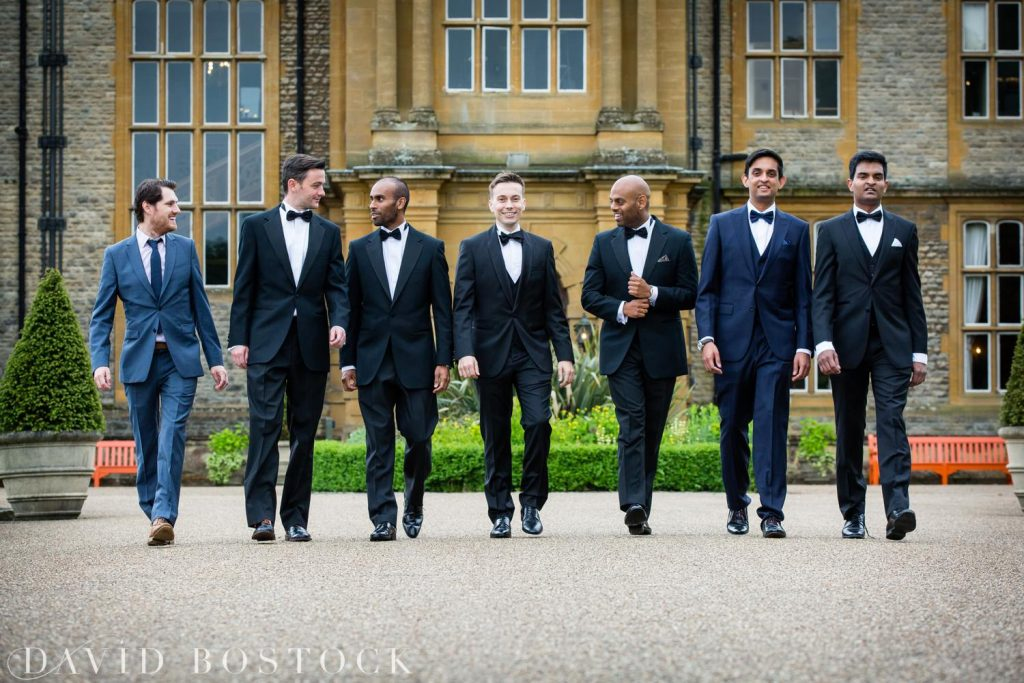 Eynsham Hall Wedding groomsmen walking