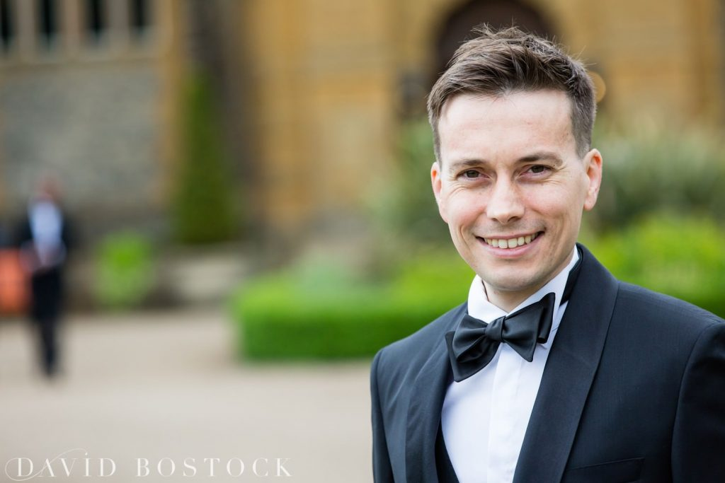 Eynsham Hall Wedding groom close up