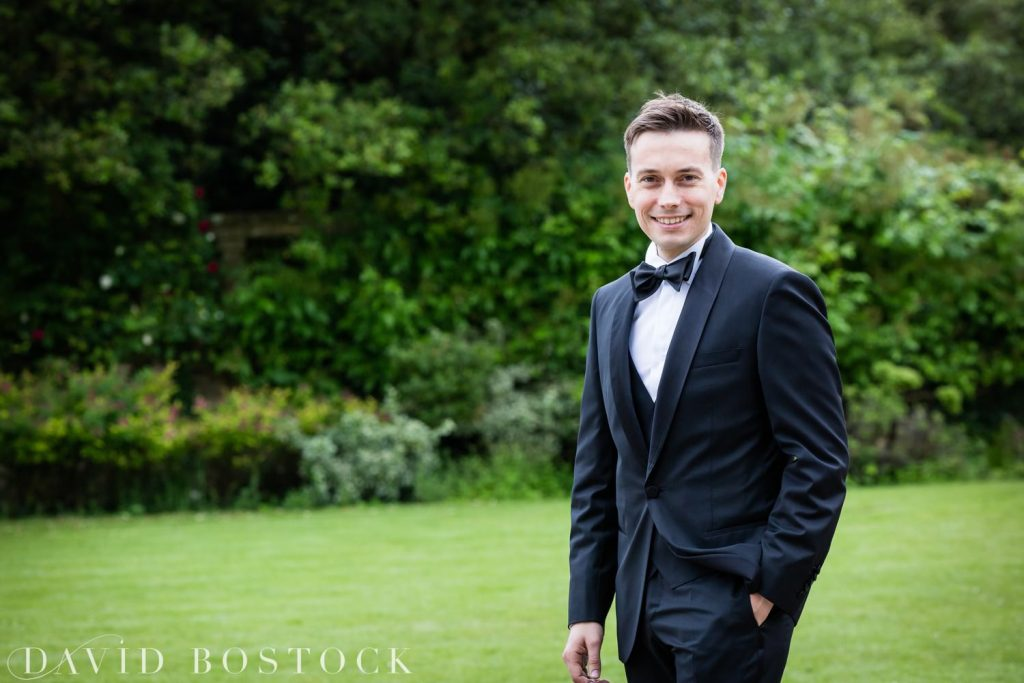 Eynsham Hall Wedding groom posing