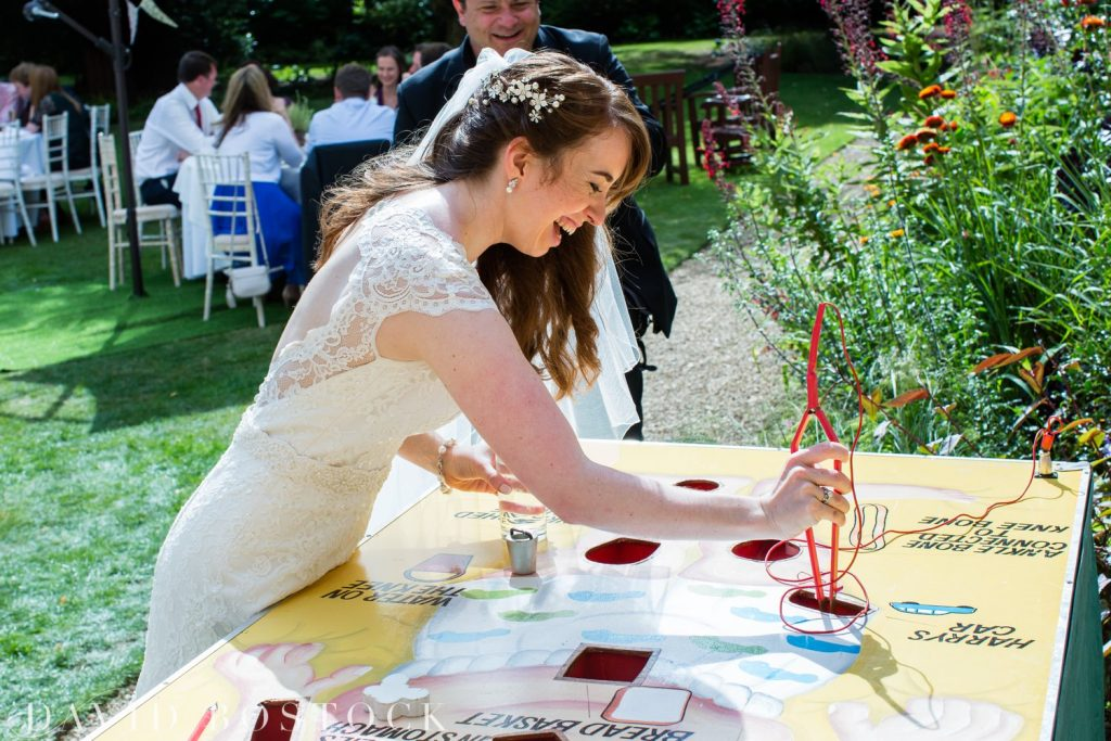 Oxford College Wedding bride playing games