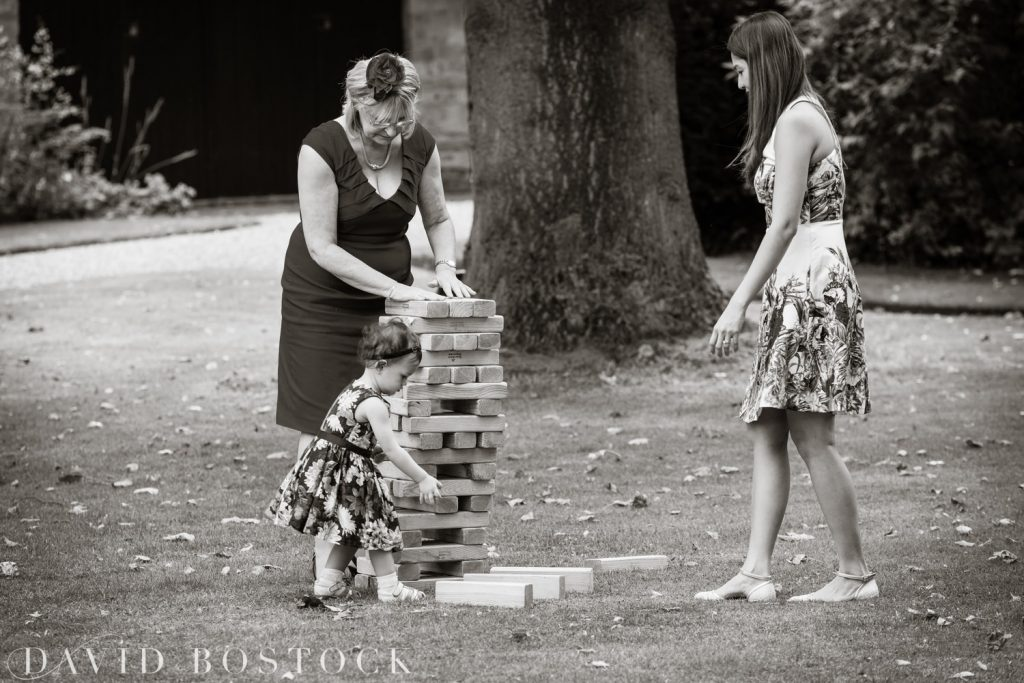 Oxford College Wedding playing Jenga
