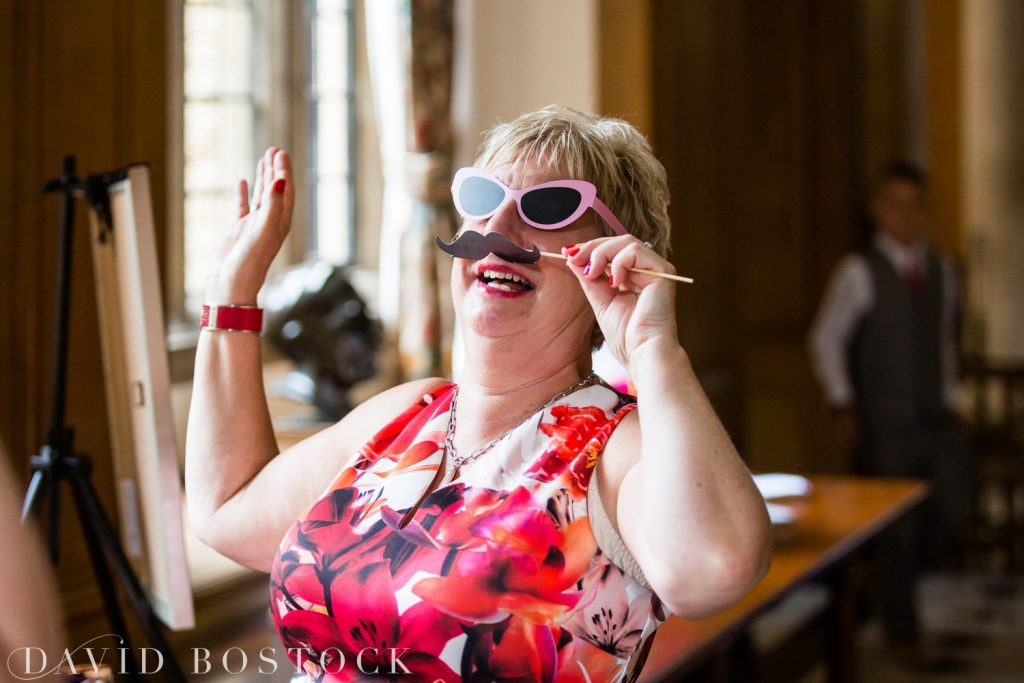 Oxford College Wedding guest with props