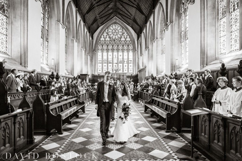 Oxford College Wedding bride and groom down aisle