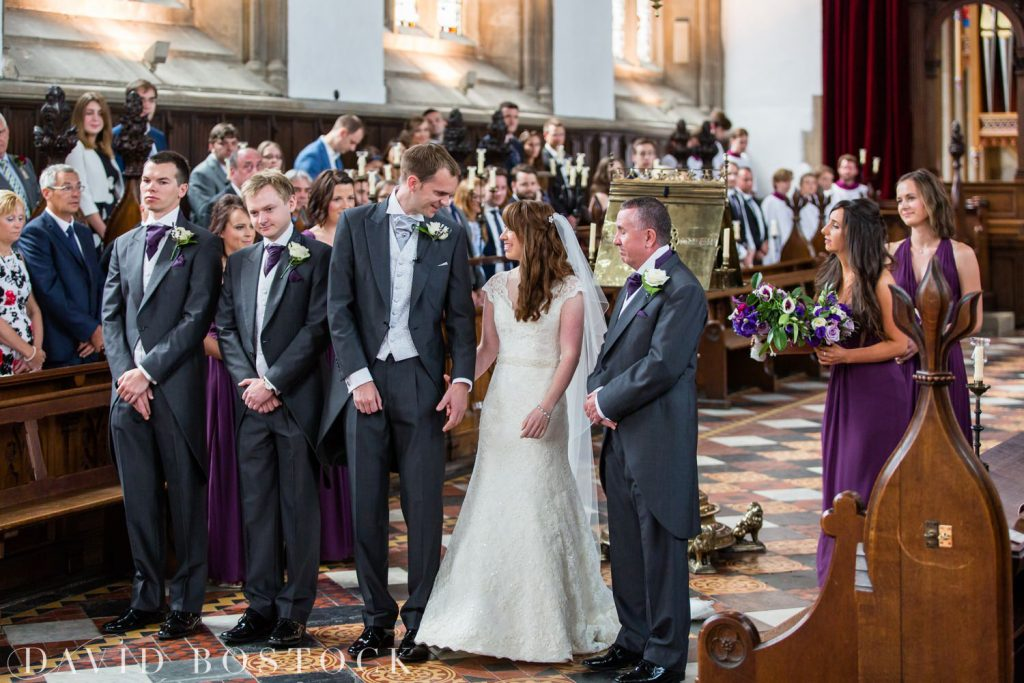 Oxford College Wedding bride and groom at aisle