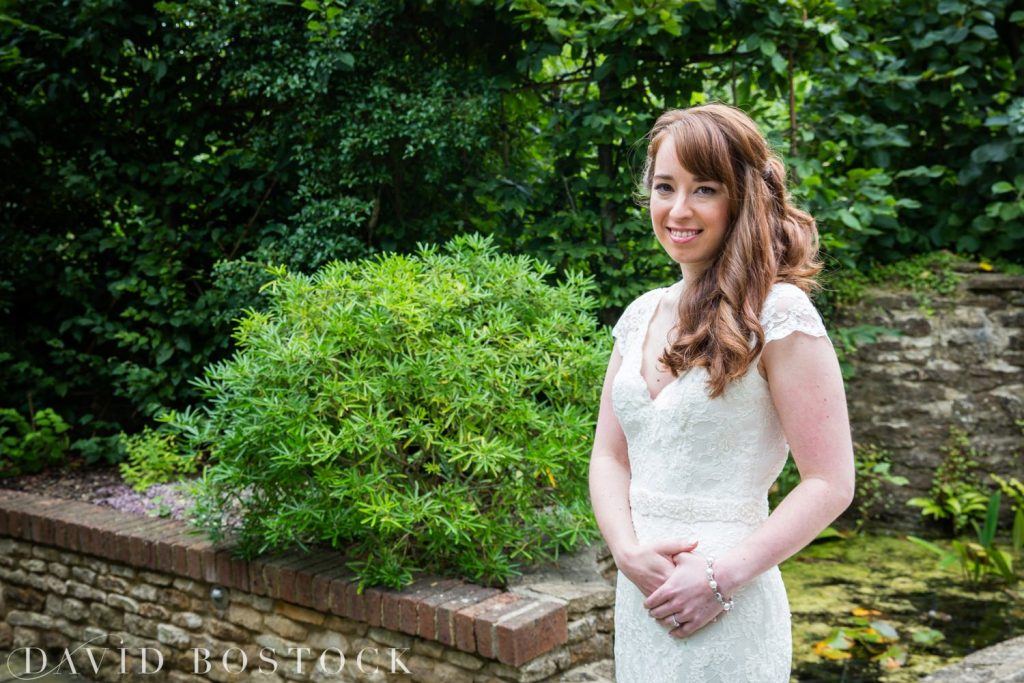 Oxford College Wedding bride in garden