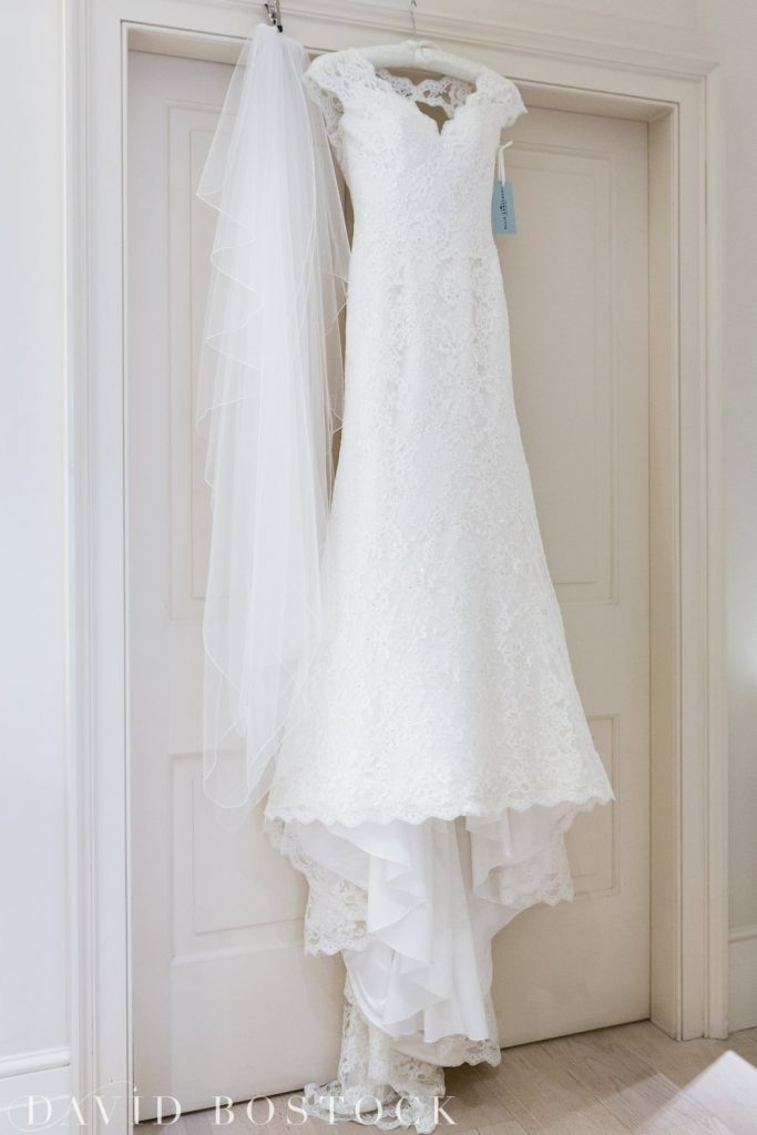 Oxford College Wedding wedding dress hanging
