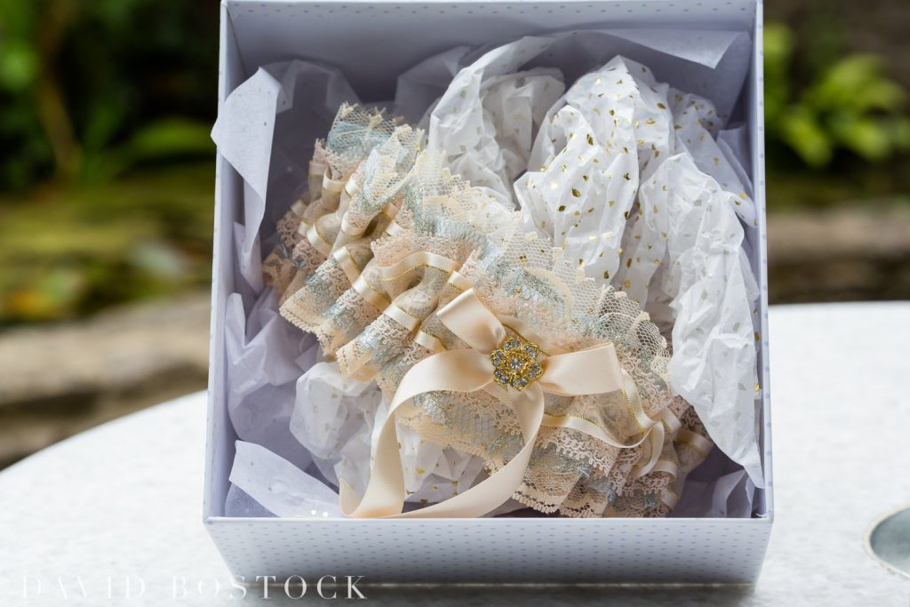 Oxford College Wedding garter in box