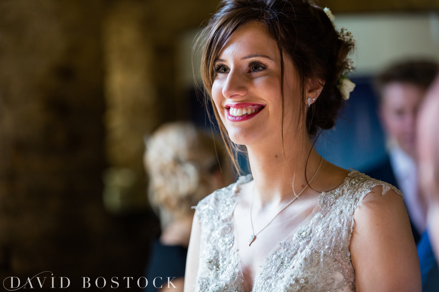 Bride getting ready at The Great Barn Aynho Wedding Photographs bride close up