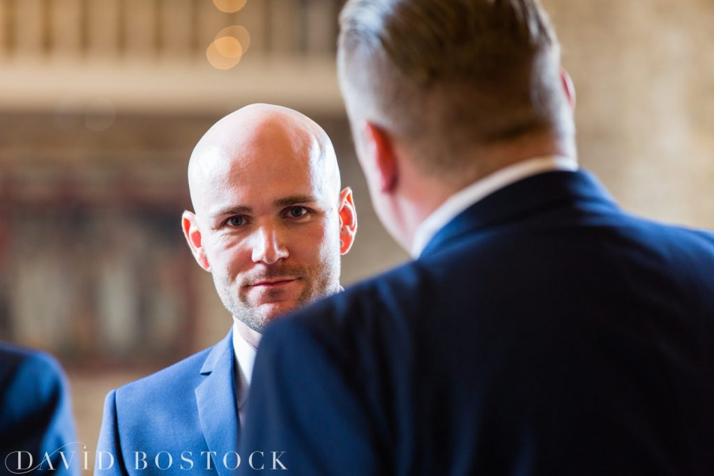 The Great Barn Aynho Wedding Photographs groom close up