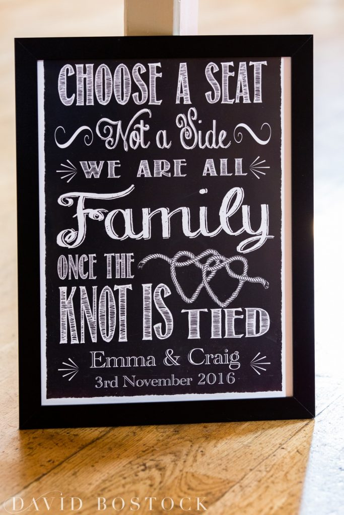 The Great Barn Aynho Wedding Photographs choose a seat sign