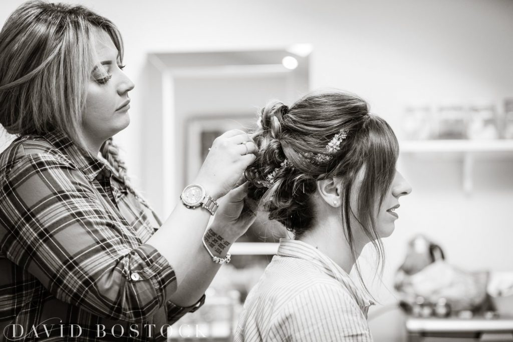 The Great Barn Aynho Wedding Photographs bridal hair styling