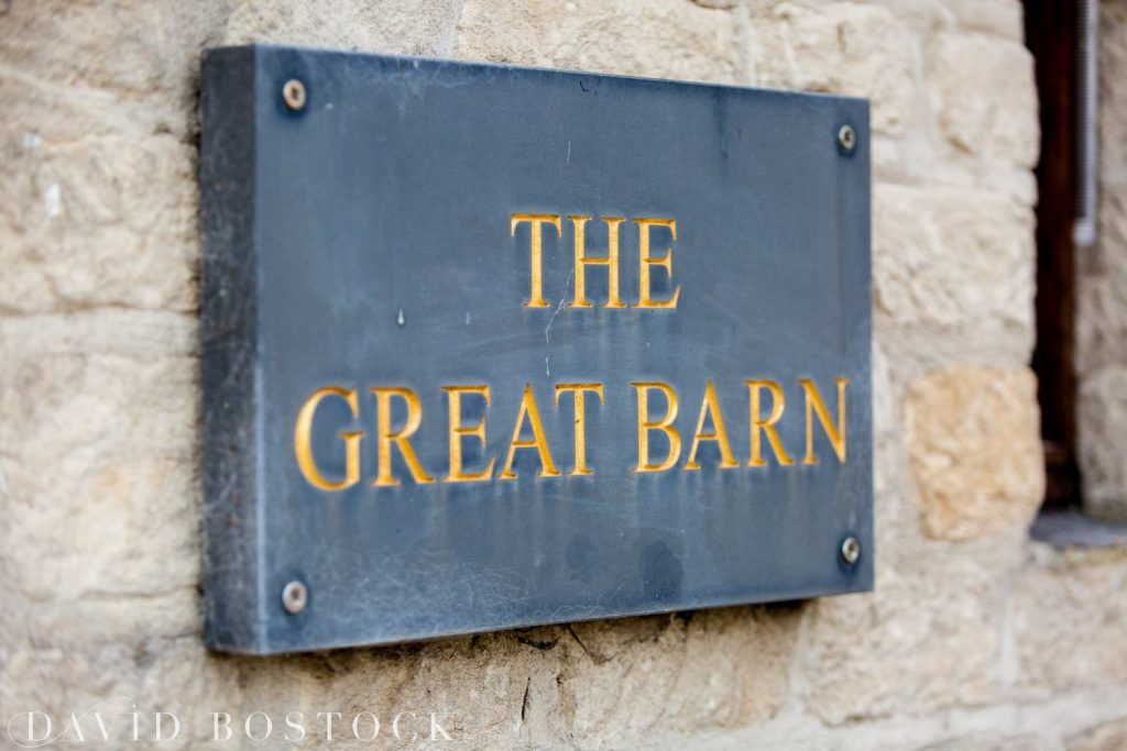 The Great Barn Aynho Wedding Photographs sign