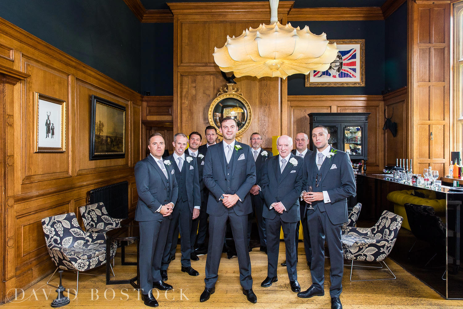 groomsmen in the Gun Room at Eynsham Hall