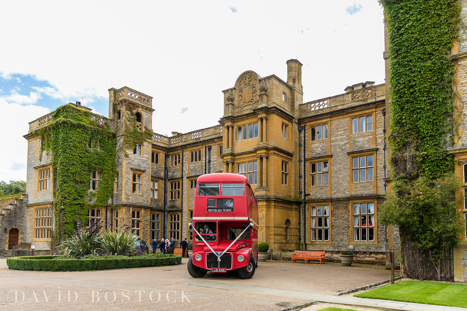 Eynsham Hall wedding double decker bus photo