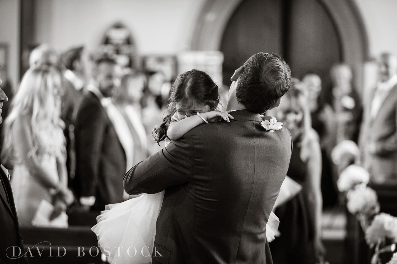 Oxfordshire wedding photo flower girl and groom