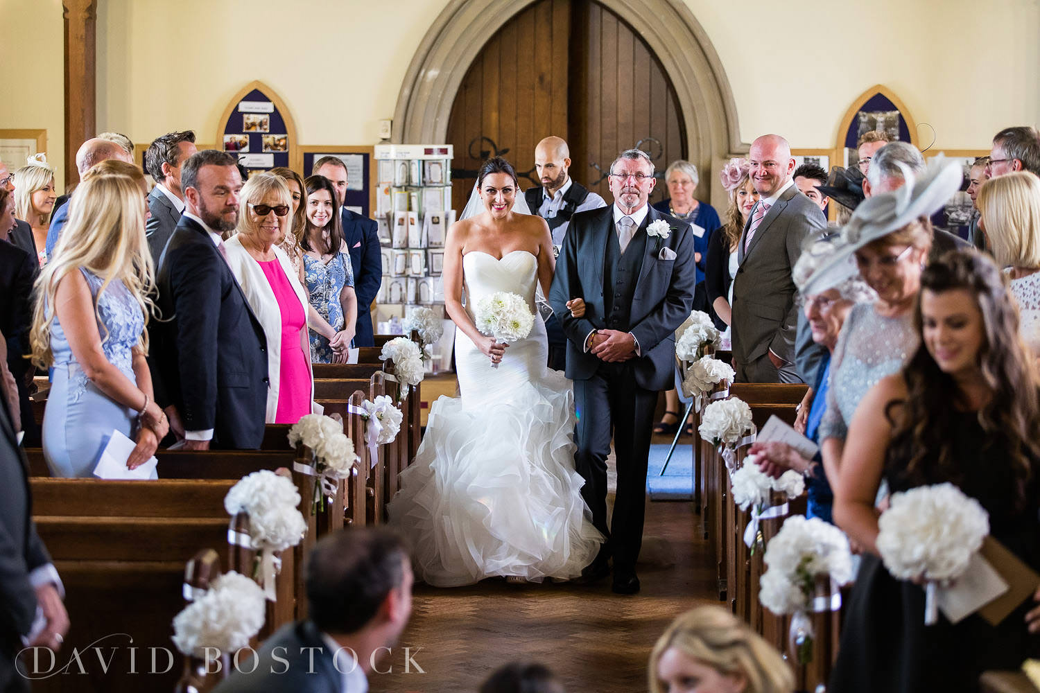 Oxfordshire wedding photograph bride aisle