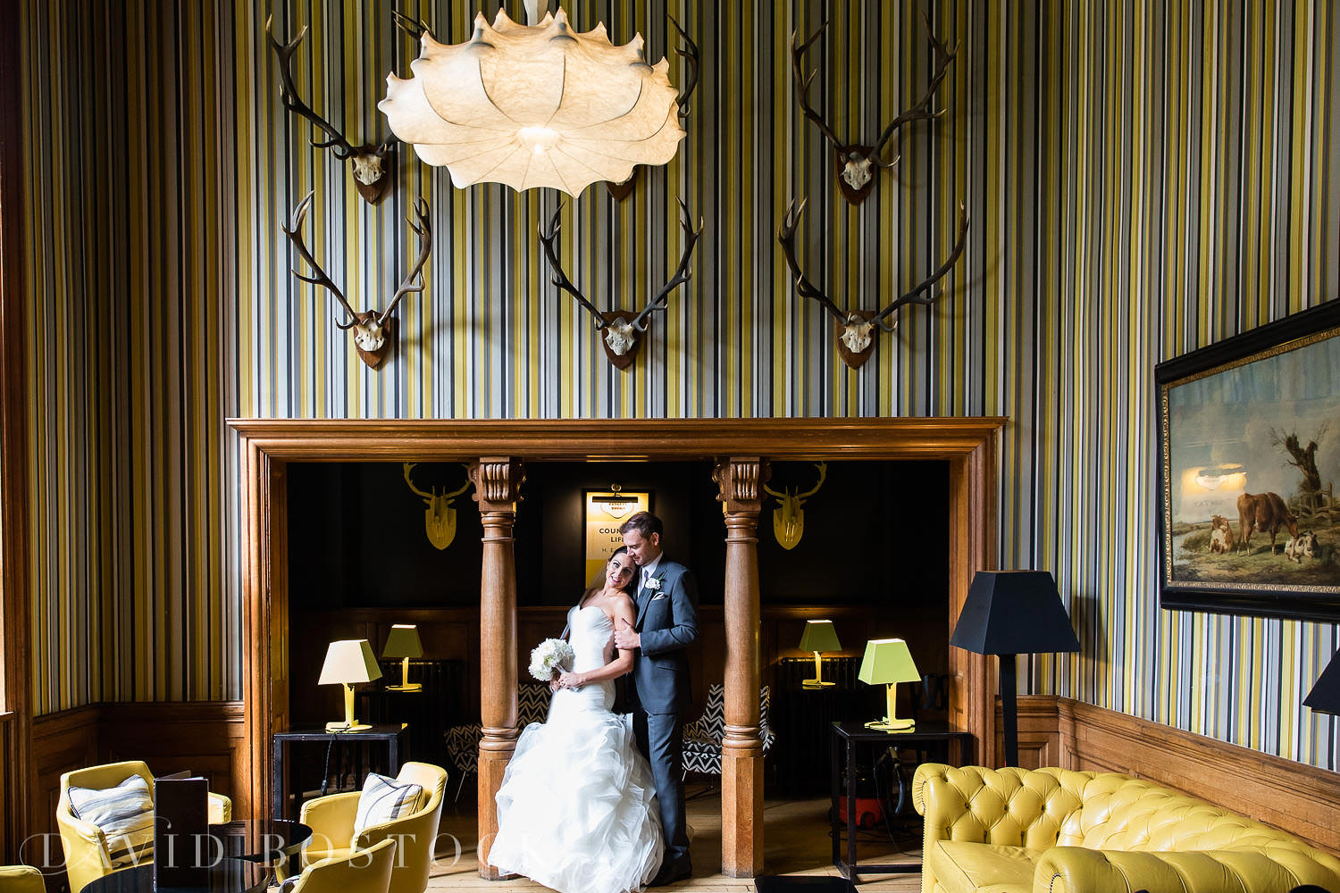 Eynsham Hall Gun Room bar wedding photo