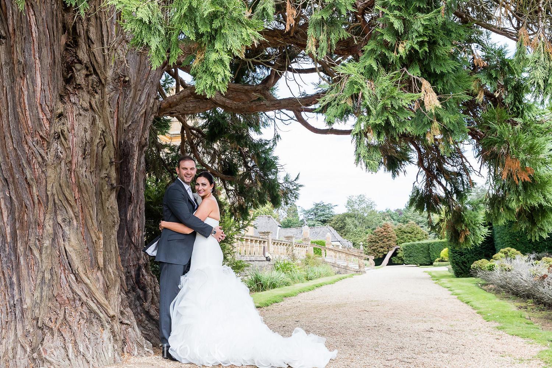 Eynsham Hall gardens wedding photo