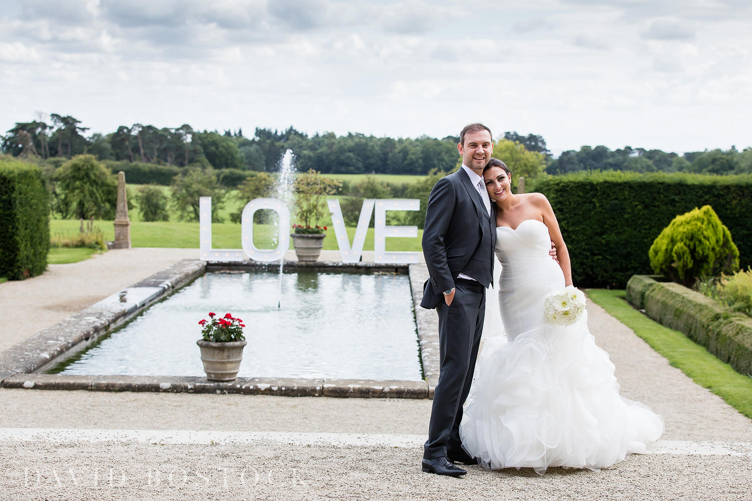 Eynsham Hall wedding photo LOVE letters sign