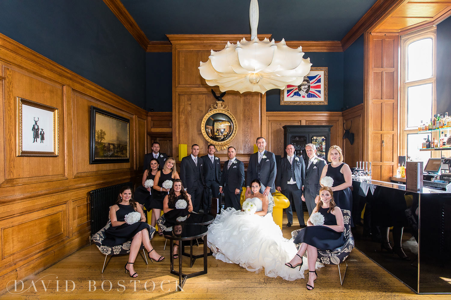 Eynsham Hall wedding photo Gun Room bridal party