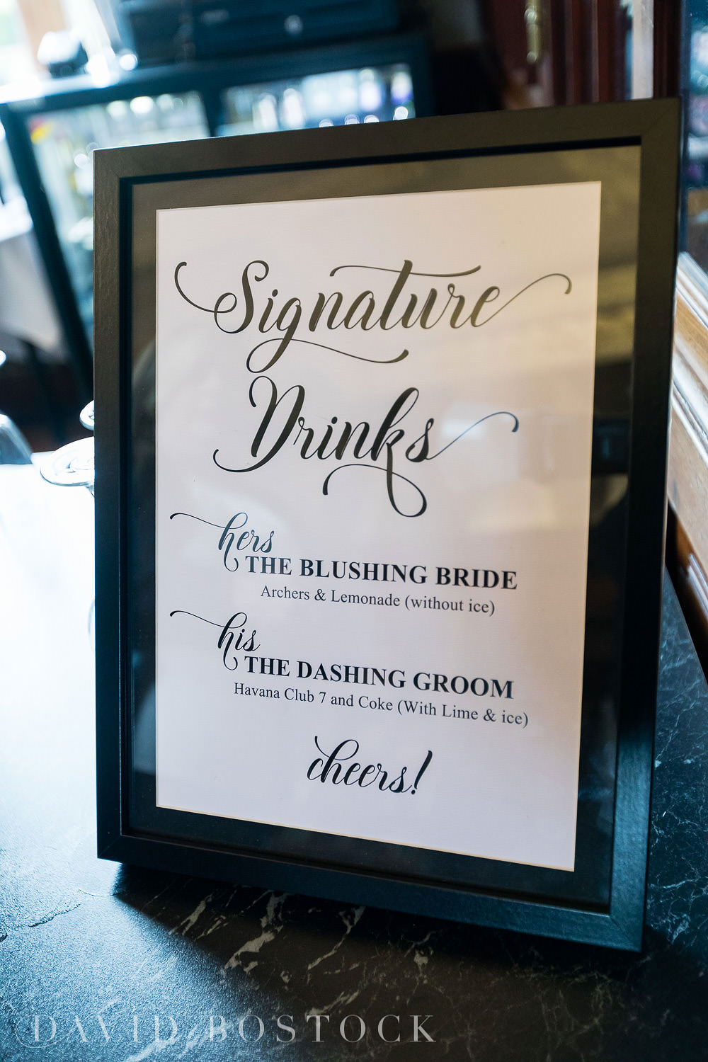 Eynsham Hall wedding photo signature drinks sign