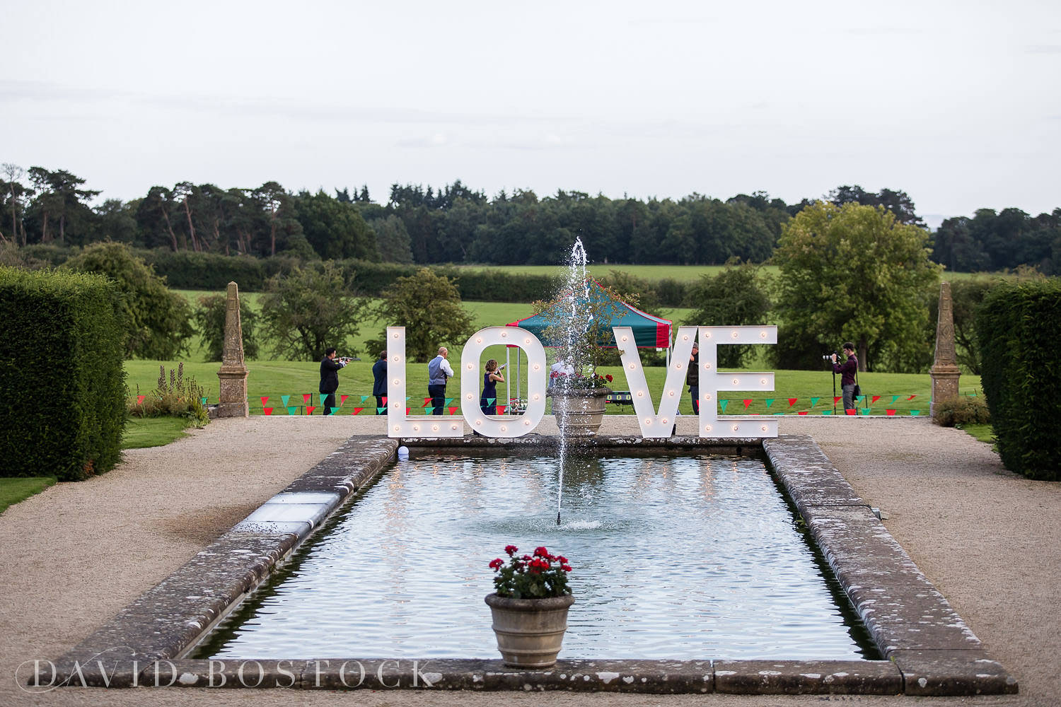Eynsham Hall wedding photo LOVE sign