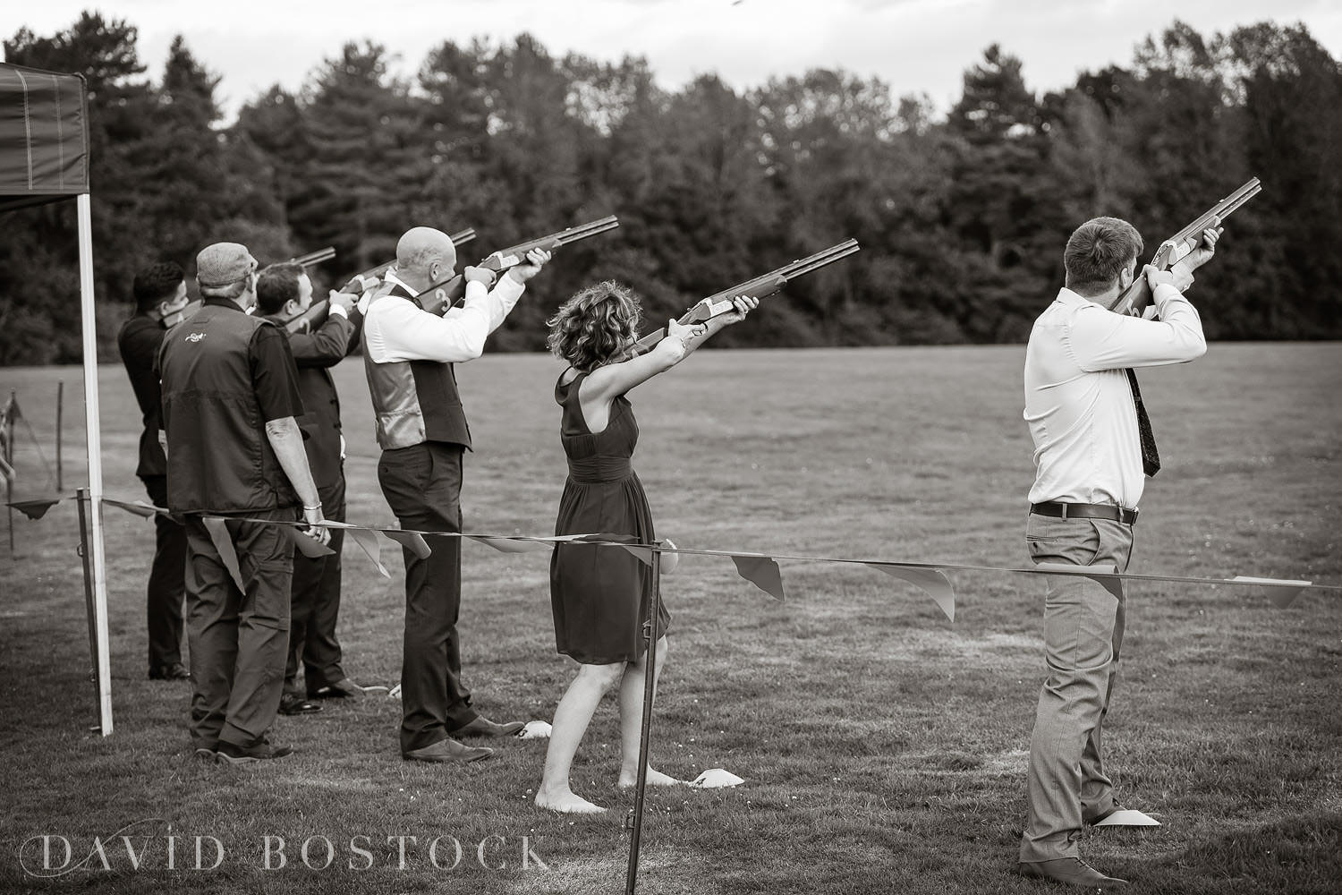 Eynsham Hall wedding photo laser clay pigeon shooting