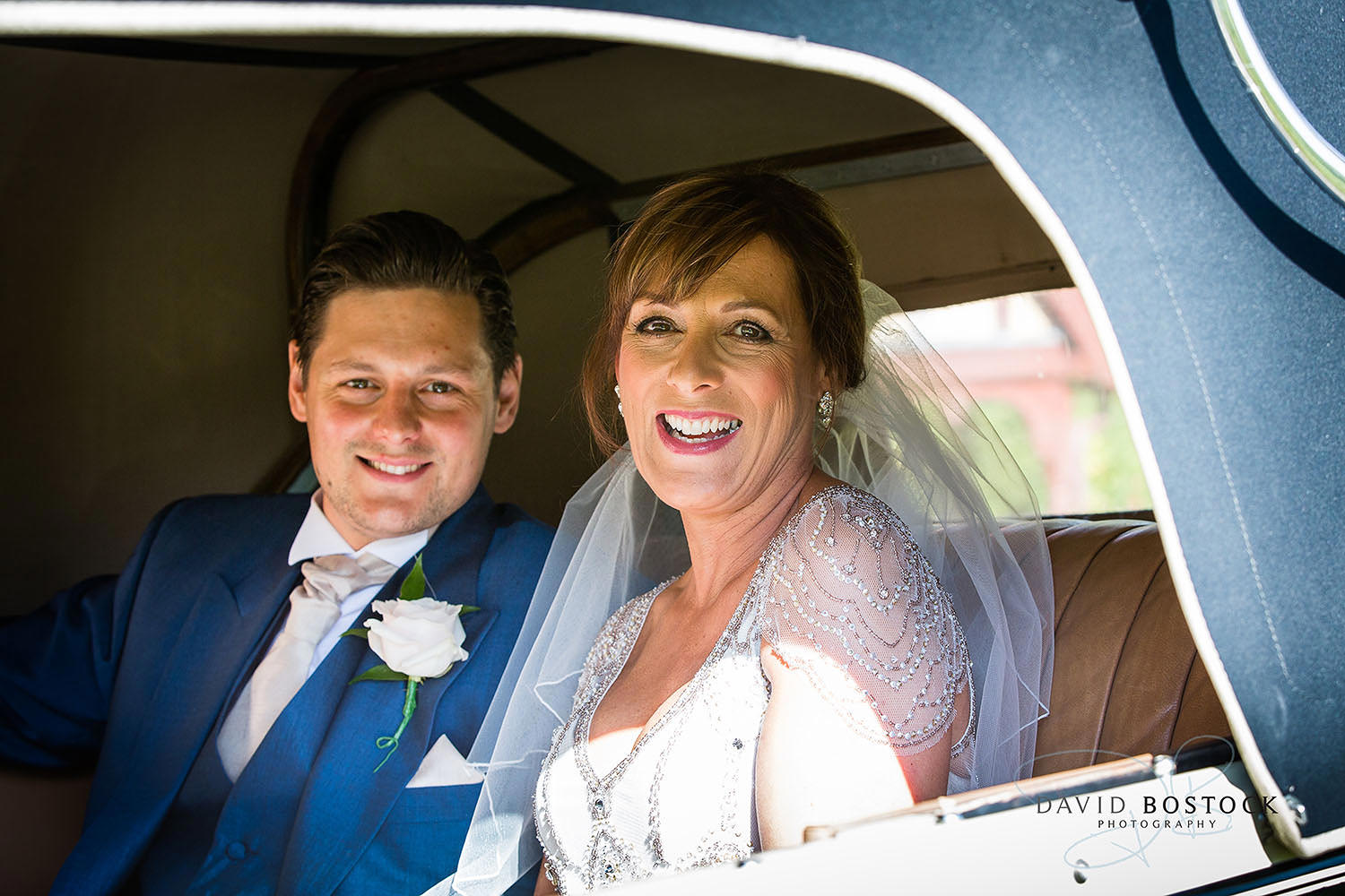 The Dairy Waddesdon wedding photo bride in car