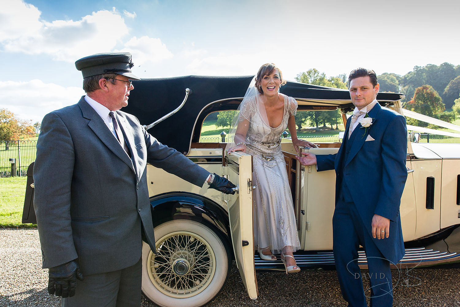 The Dairy Waddesdon wedding photo bride vintage car