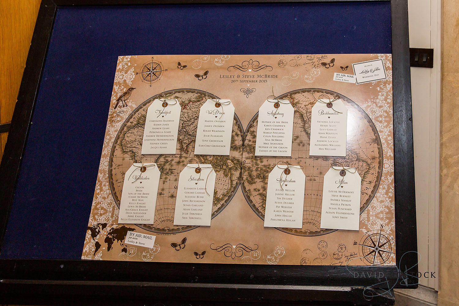 The Dairy Waddesdon wedding photo table plan
